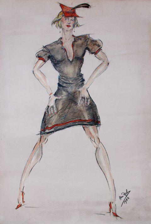 1942, aquarel, houtskool, 50 – 65 cm