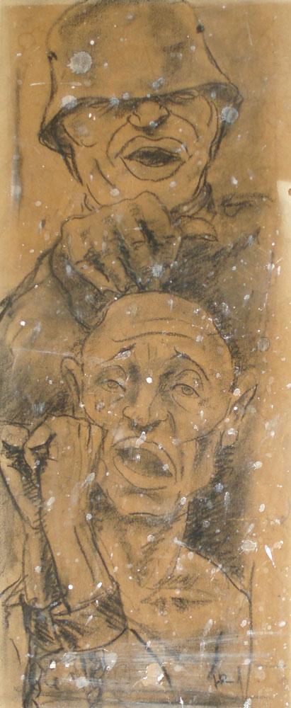 Oorlog, houtskool, 1944, 60 – 30 cm