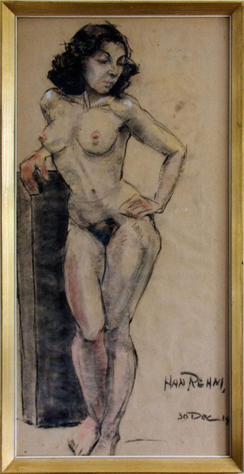 Vrouw, krijt, 1954, 90 – 47 cm
