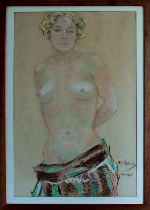 Vrouw, krijt, 1955, 78 – 55 cm