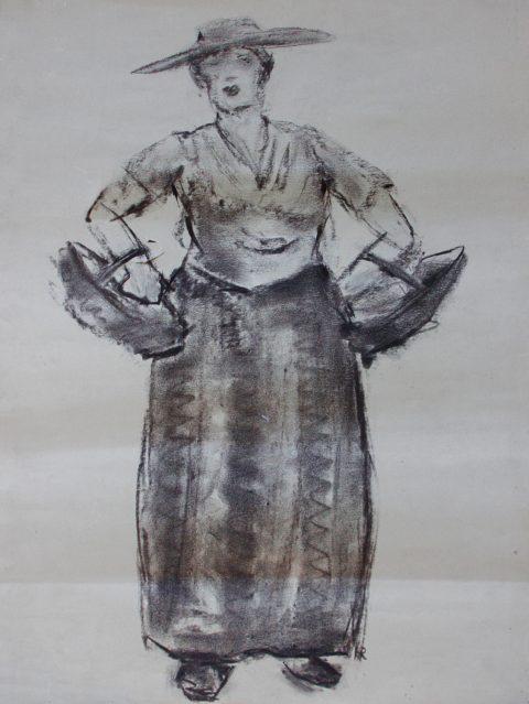 Boeren vrouw, houtskool, 60 – 50 cm
