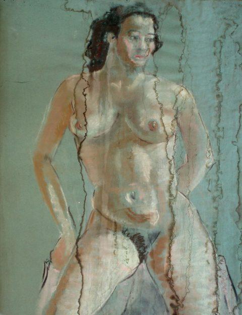 Naakt, pastel, 1954, 60 - 45 cm. Lekkage in het atelier